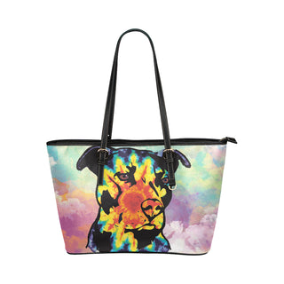 Pit Bull Pop Art No.1 Leather Tote Bag/Small (Model 1651) - TeeAmazing