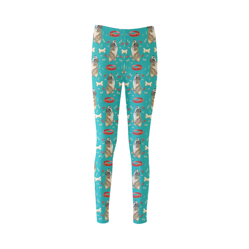 English Bulldog Water Colour Pattern No.1 Cassandra Women's Leggings - TeeAmazing