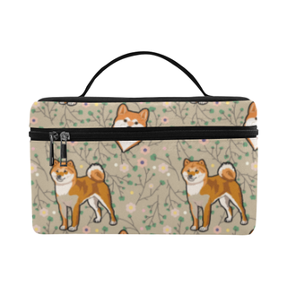 Akita Flower Cosmetic Bag/Large (Model 1658) - TeeAmazing