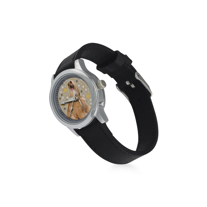 Afghan Hound Kid's Stainless Steel Leather Strap Watch - TeeAmazing