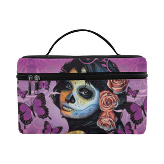 Sugar Skull Candy V1 Cosmetic Bag/Large - TeeAmazing