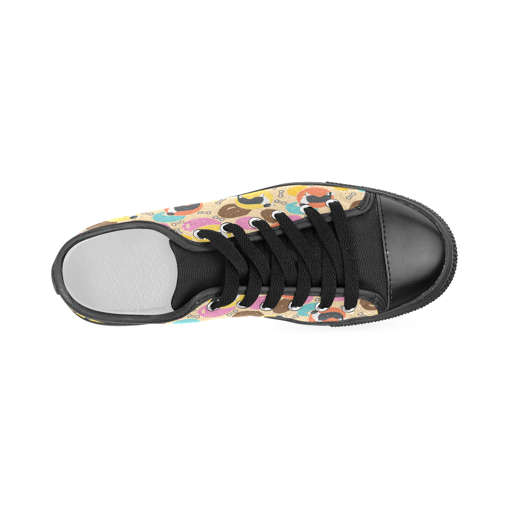 Border Collie Pattern Black Women's Classic Canvas Shoes - TeeAmazing