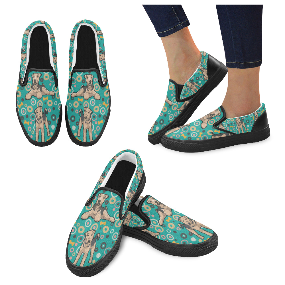 Airedale Terrier Pattern Black Women's Slip-on Canvas Shoes - TeeAmazing