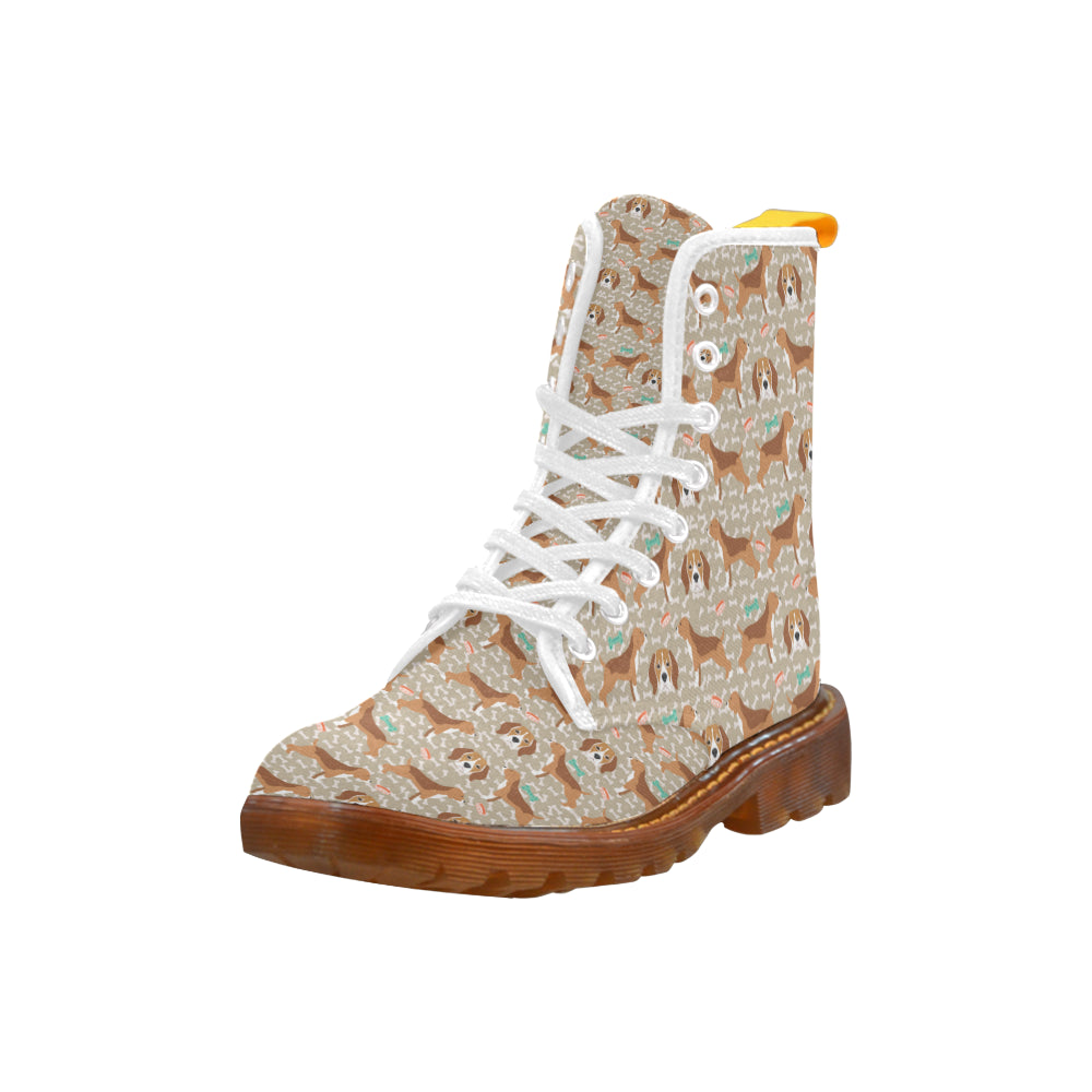 Beagle Pattern White Boots For Men - TeeAmazing