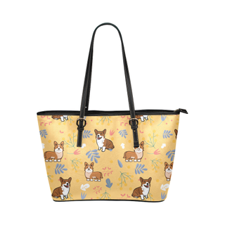 Corgi Flower Leather Tote Bag/Small (Model 1651) - TeeAmazing