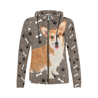 Corgi V3 All Over Print Full Zip Hoodie for Women - TeeAmazing