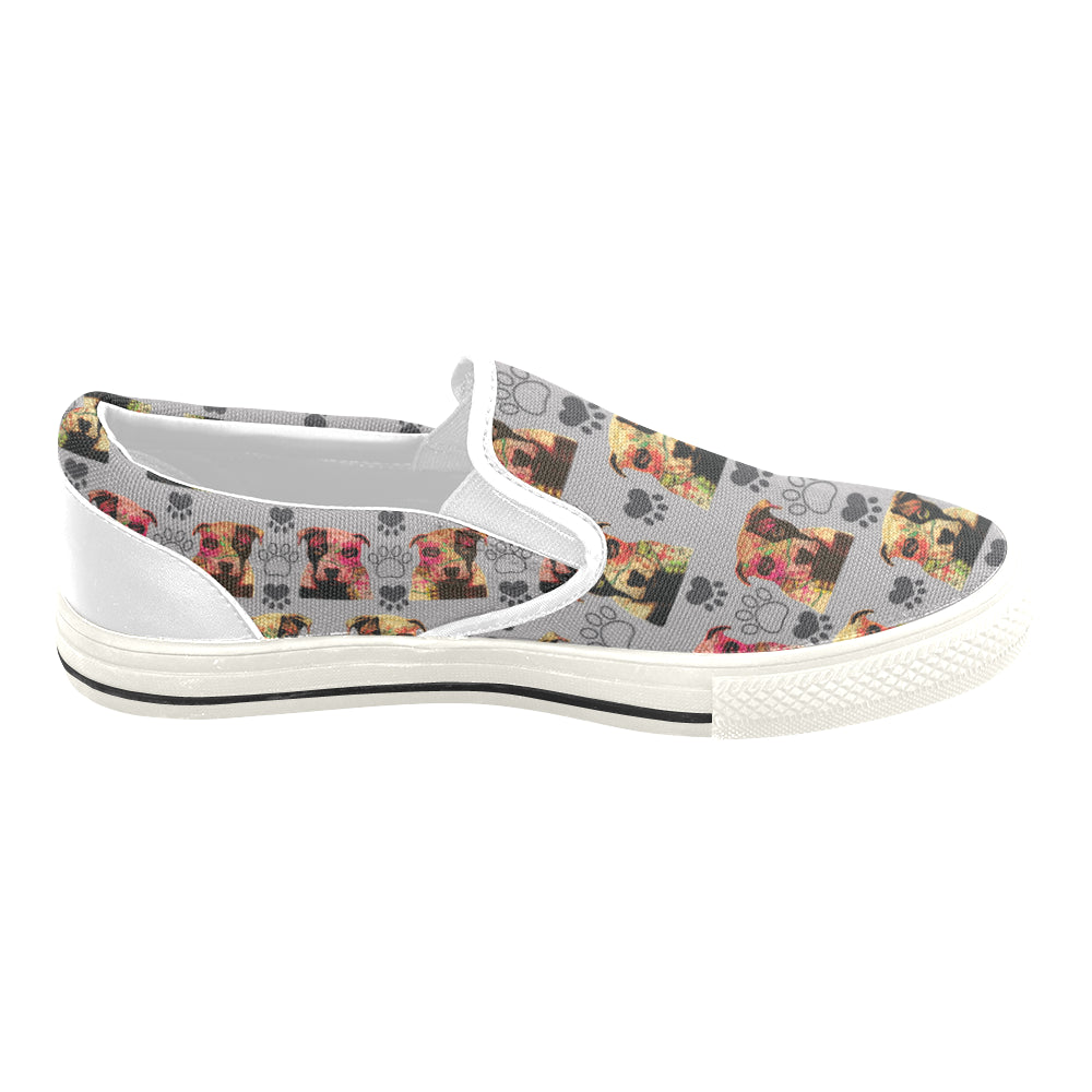 Pit Bull Pop Art Pattern No.1 White Women's Slip-on Canvas Shoes/Large Size (Model 019) - TeeAmazing