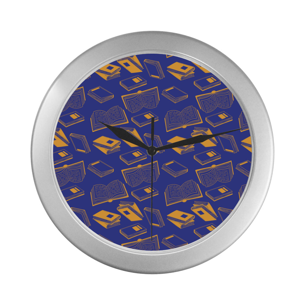 Book Pattern Silver Color Wall Clock - TeeAmazing