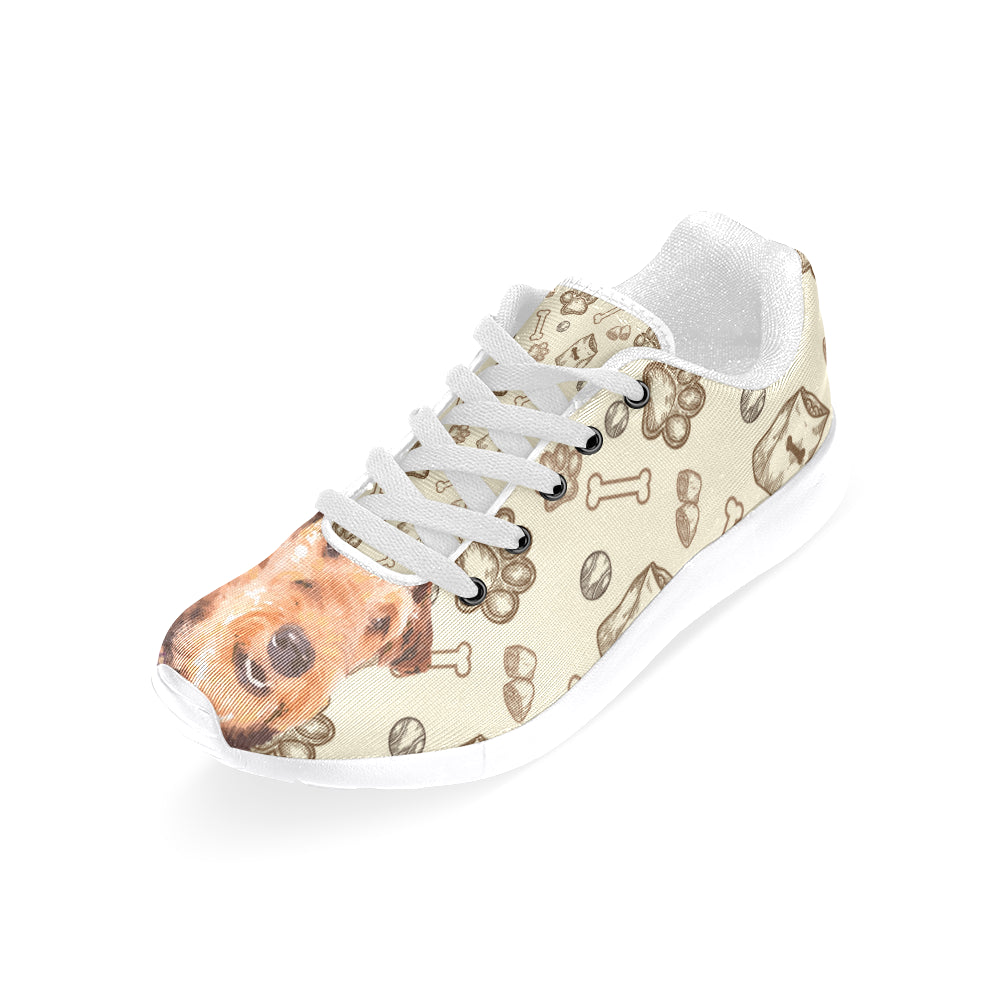 Airedale Terrier White Sneakers Size 13-15 for Men - TeeAmazing