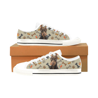 Doberman Dog White Men's Classic Canvas Shoes/Large Size - TeeAmazing