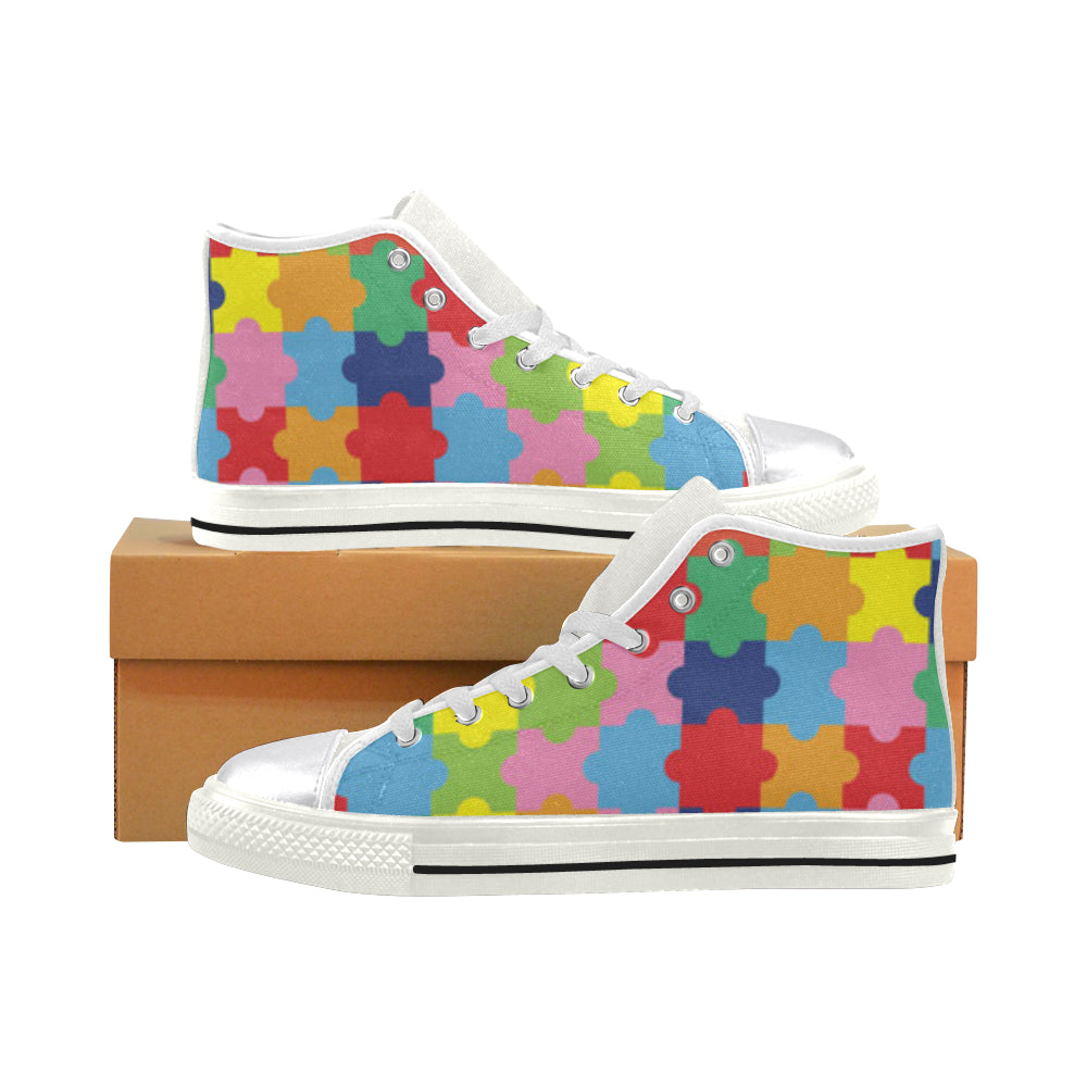 Autism White Women's Classic High Top Canvas Shoes - TeeAmazing