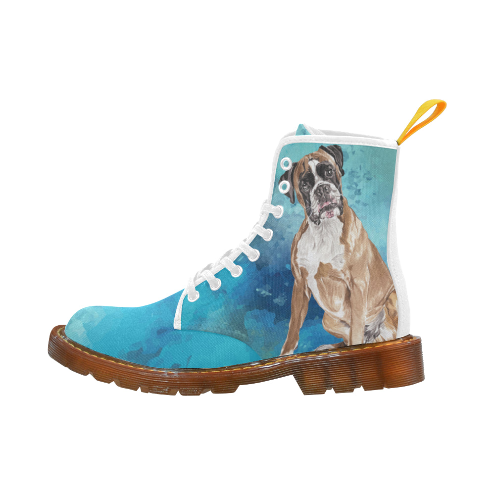 Boxer Water Colour White Boots For Women - TeeAmazing
