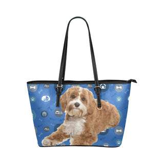 Cavapoo Dog Leather Tote Bag/Small - TeeAmazing
