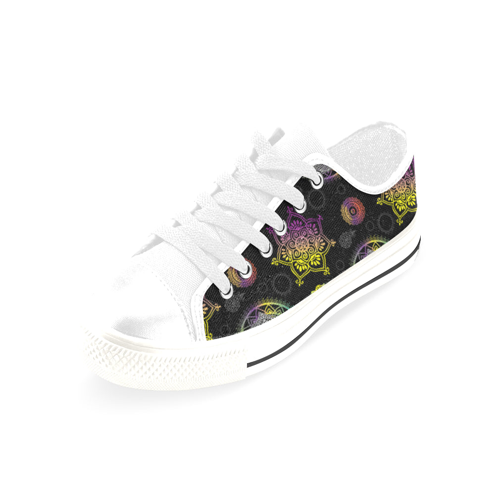 Lotus and Mandalas White Men's Classic Canvas Shoes/Large Size - TeeAmazing