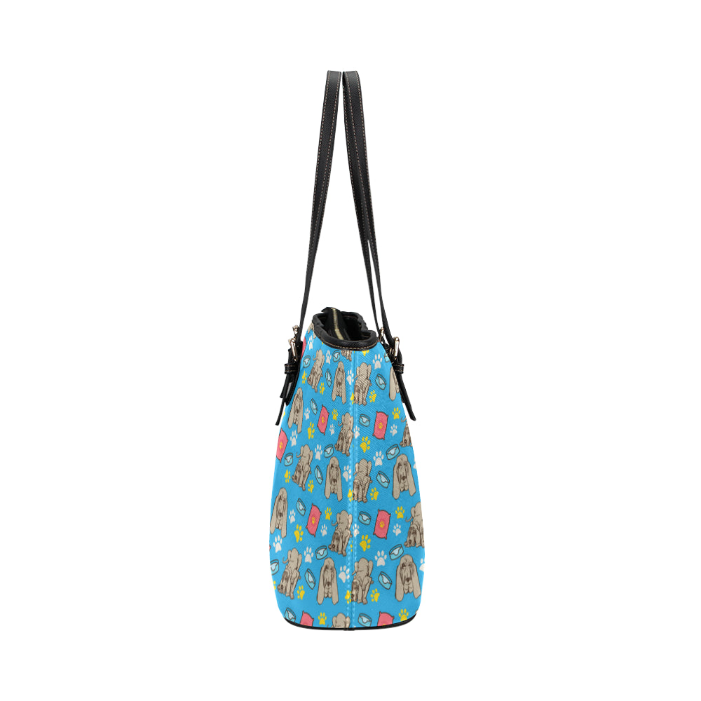 Bloodhound Pattern Leather Tote Bag/Small - TeeAmazing