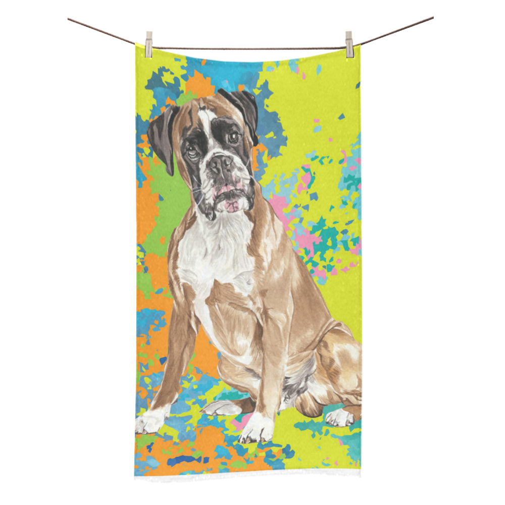 "Boxer Water Colour No.2 Bath Towel 30""x56"" - TeeAmazing"