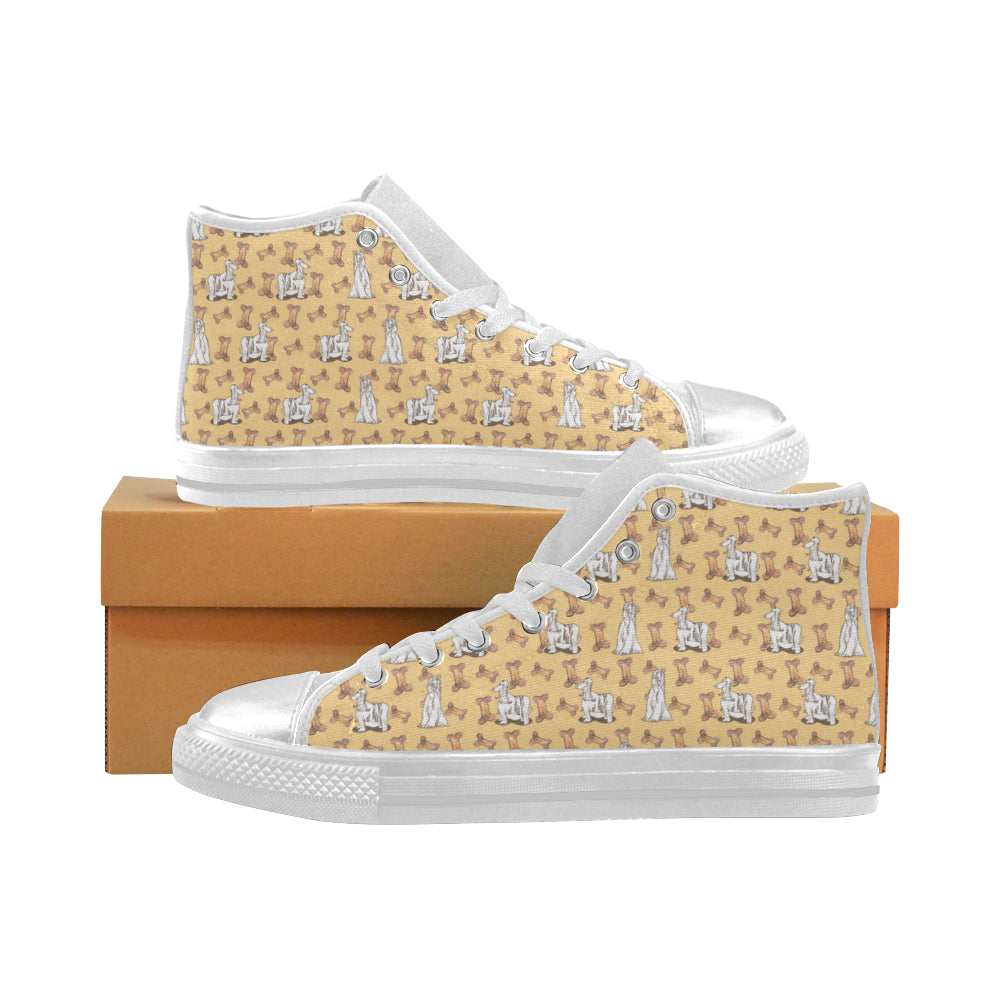 Afghan Hound Pattern White Women's Classic High Top Canvas Shoes - TeeAmazing