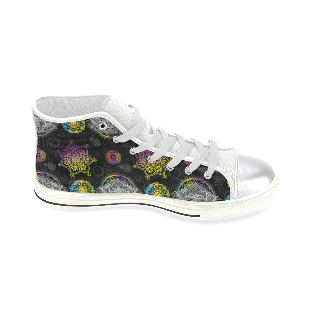 Lotus and Mandalas White Women's Classic High Top Canvas Shoes - TeeAmazing