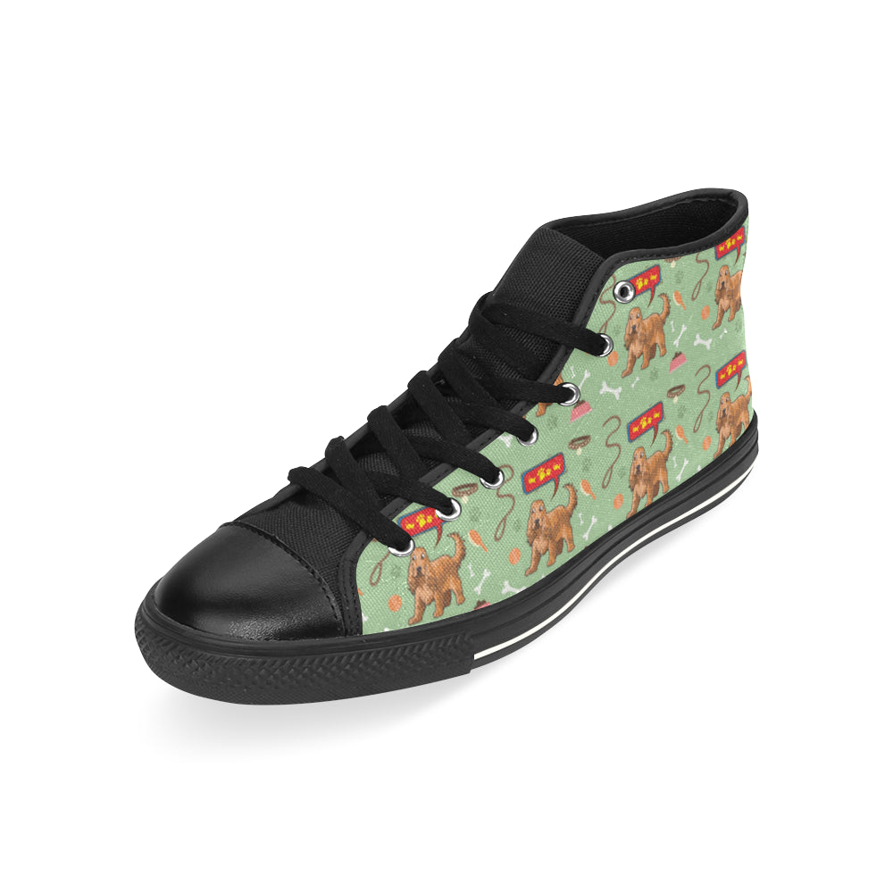 American Cocker Spaniel Pattern Black High Top Canvas Women's Shoes/Large Size - TeeAmazing