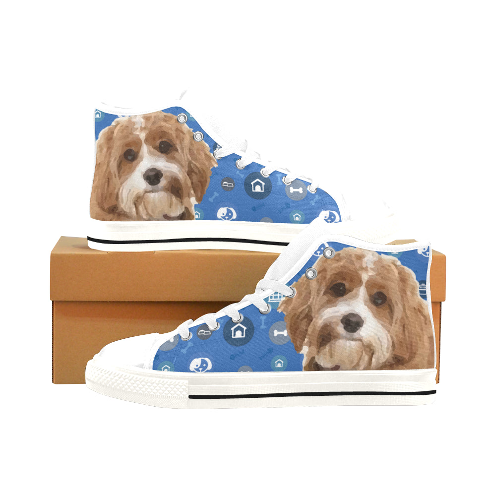 Cavapoo Dog White Men's Classic High Top Canvas Shoes /Large Size