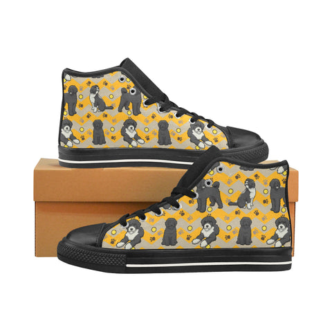 Portuguese water dog Black Men's Classic High Top Canvas Shoes /Large Size (Model 017) - TeeAmazing