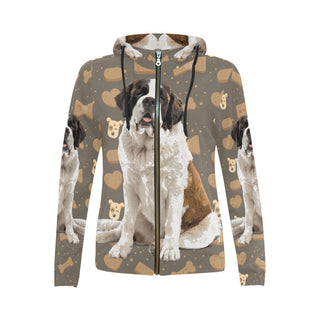 St. Bernard Dog All Over Print Full Zip Hoodie for Women (Model H14) - TeeAmazing