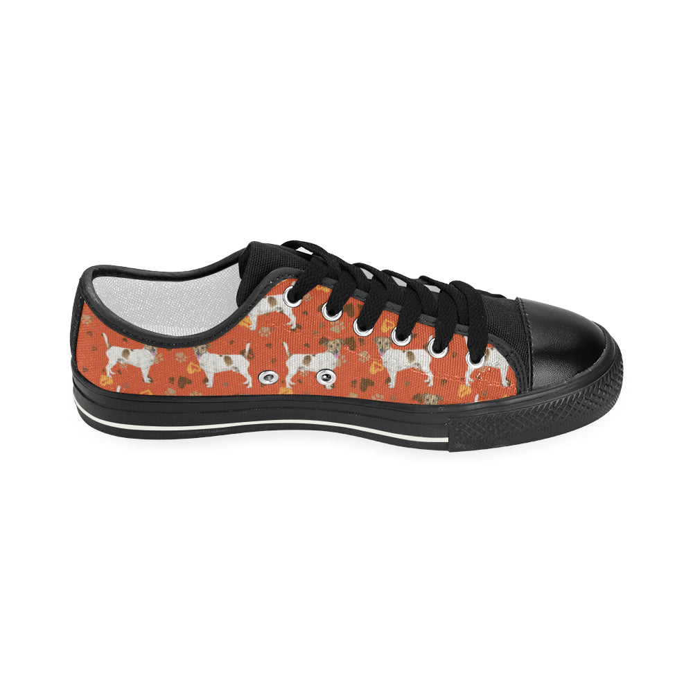 06287195d53 ... Jack Russell Terrier Water Colour Pattern No.1 Black Women s Classic  Canvas Shoes - TeeAmazing ...