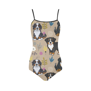 Bernese Mountain Flower Strap Swimsuit ( Model S05) - TeeAmazing
