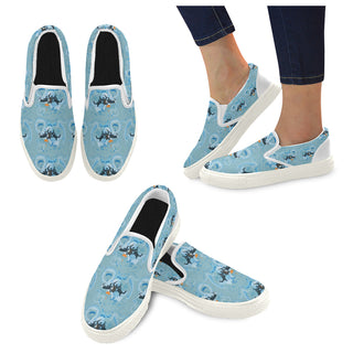 Sky Diving White Women's Slip-on Canvas Shoes (Model 019) - TeeAmazing