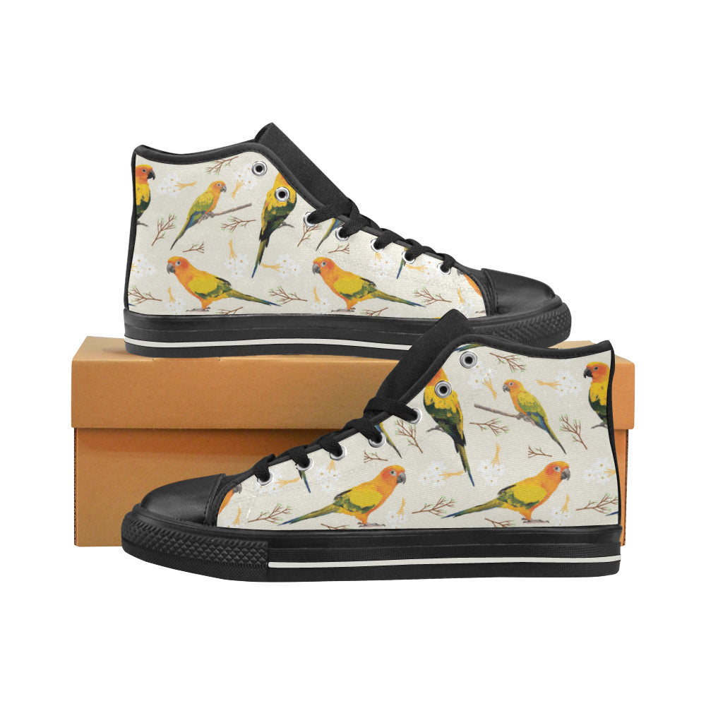 Conures Black High Top Canvas Shoes for Kid - TeeAmazing