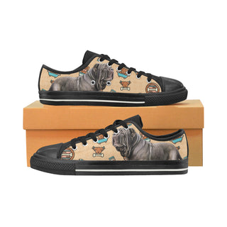 Neapolitan Mastiff Dog Black Low Top Canvas Shoes for Kid - TeeAmazing