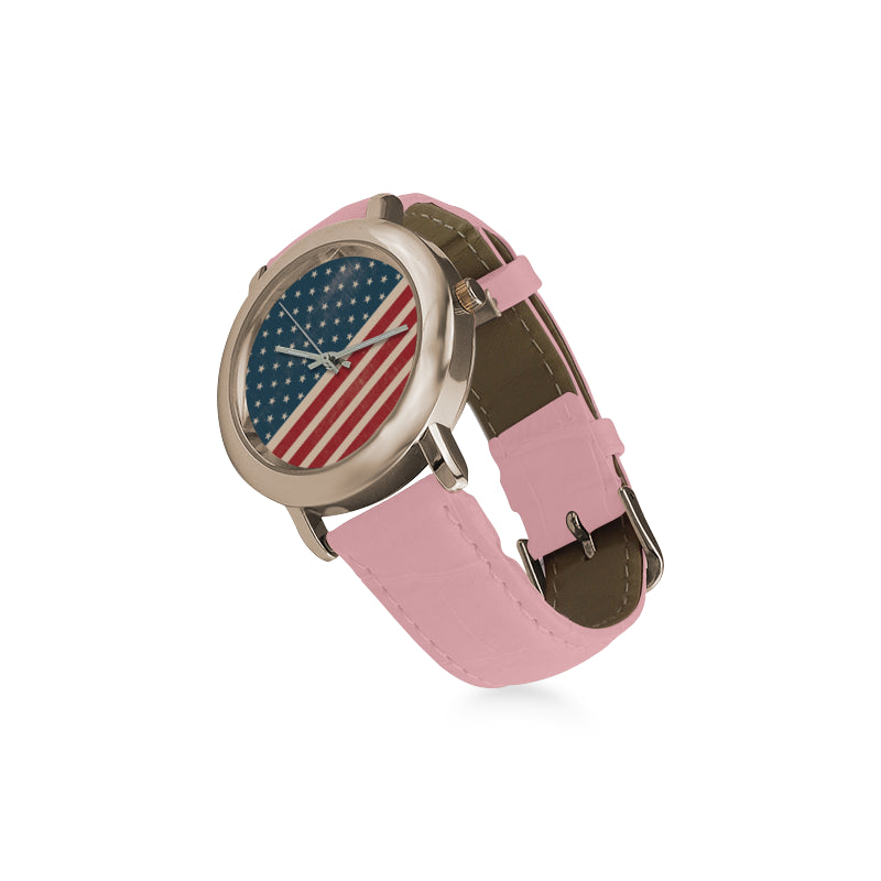 4th July V2 Women's Rose Gold Leather Strap Watch - TeeAmazing