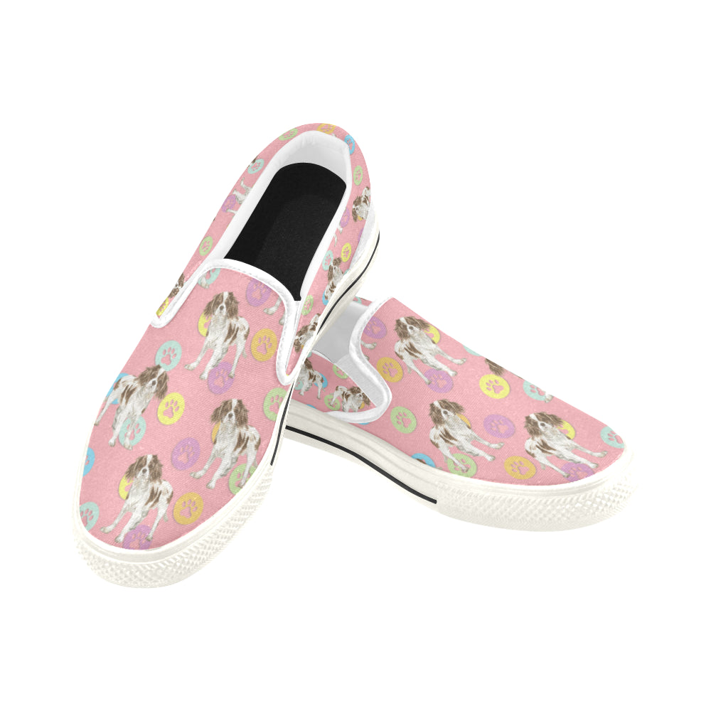 Cavalier King Charles Spaniel Water Colour Pattern No.1 White Women's Slip-on Canvas Shoes/Large Size (Model 019) - TeeAmazing