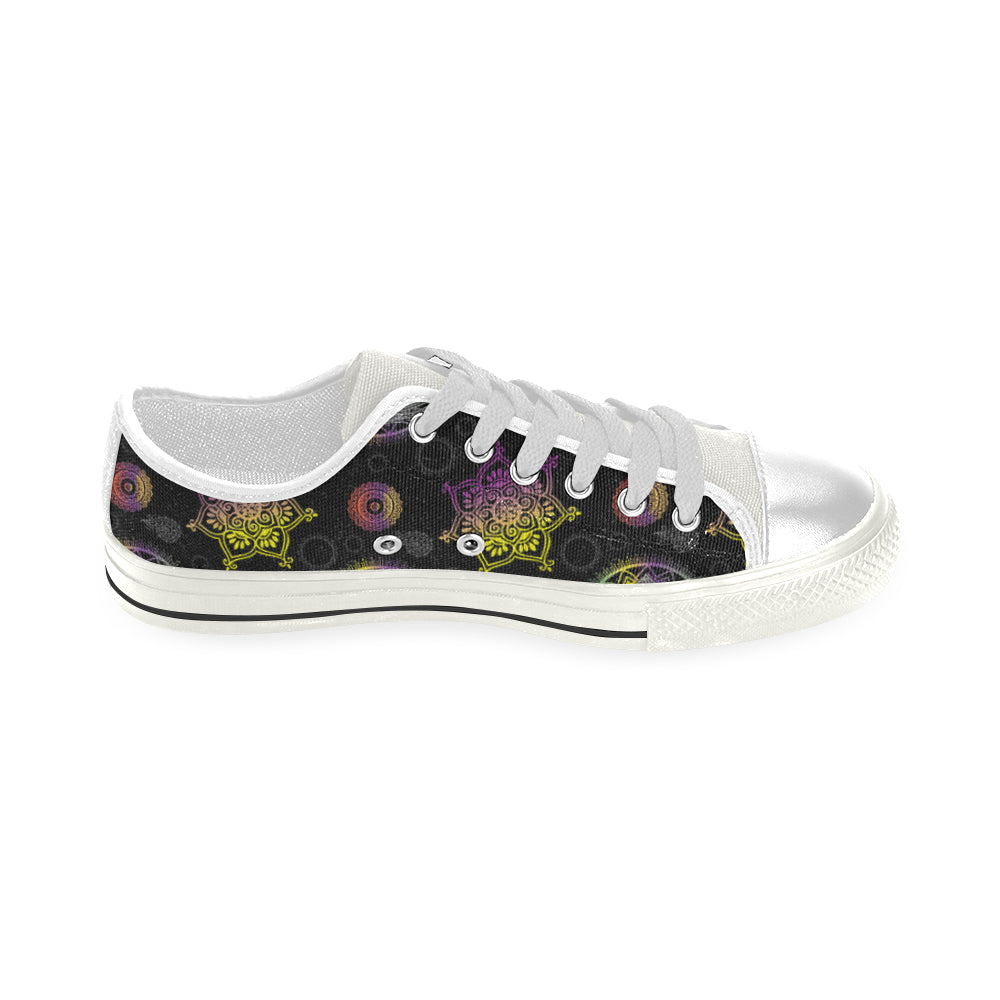 Lotus and Mandalas White Men's Classic Canvas Shoes - TeeAmazing