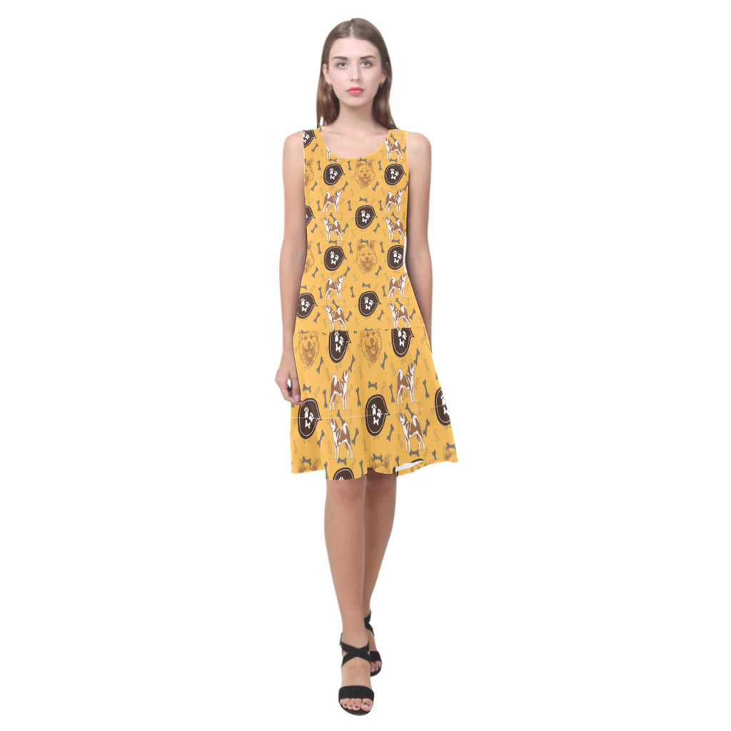 Akita Pattern Sleeveless Splicing Shift Dress - TeeAmazing