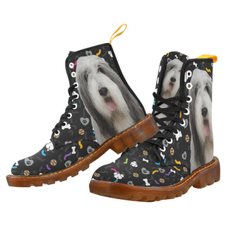 Bearded Collie Dog Black Martin Boots For Men - TeeAmazing