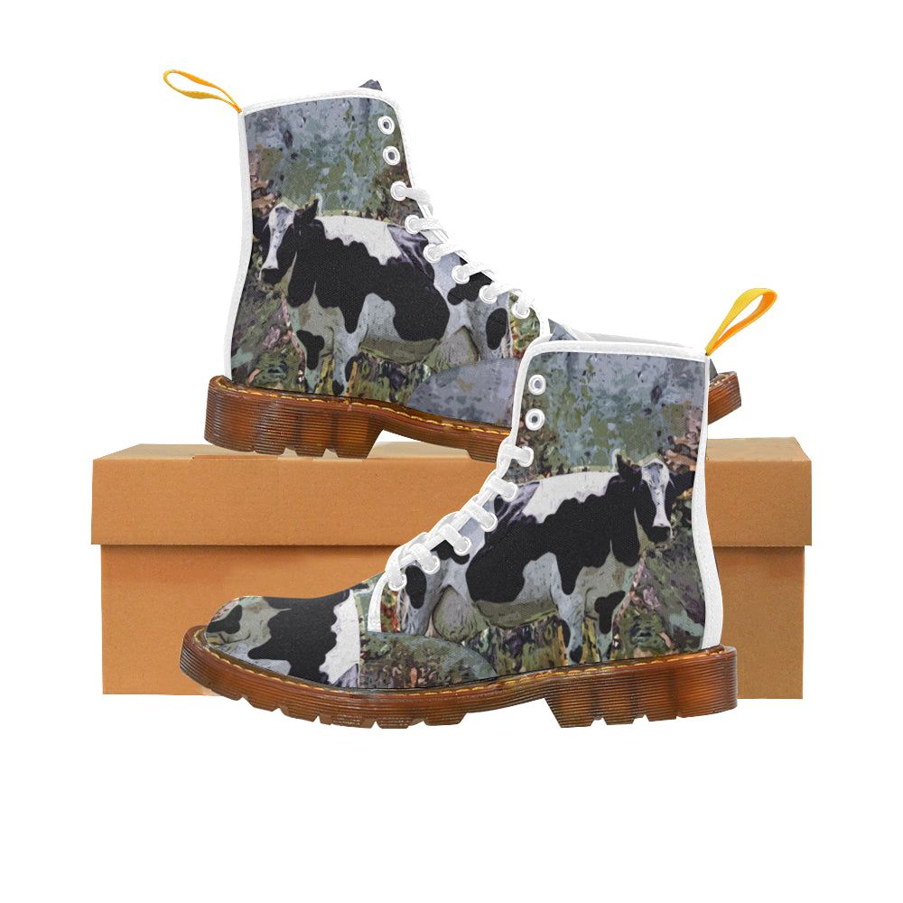 Cow White Boots For Men - TeeAmazing