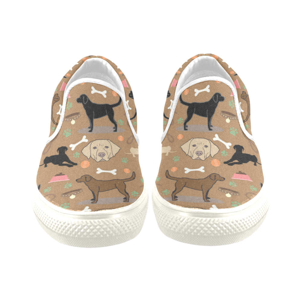 Labrador 3 Colors White Women's Slip-on Canvas Shoes/Large Size (Model 019) - TeeAmazing