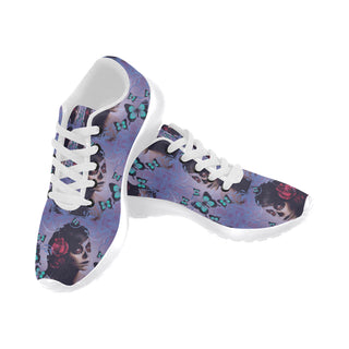 Sugar Skull Candy White Sneakers for Men - TeeAmazing