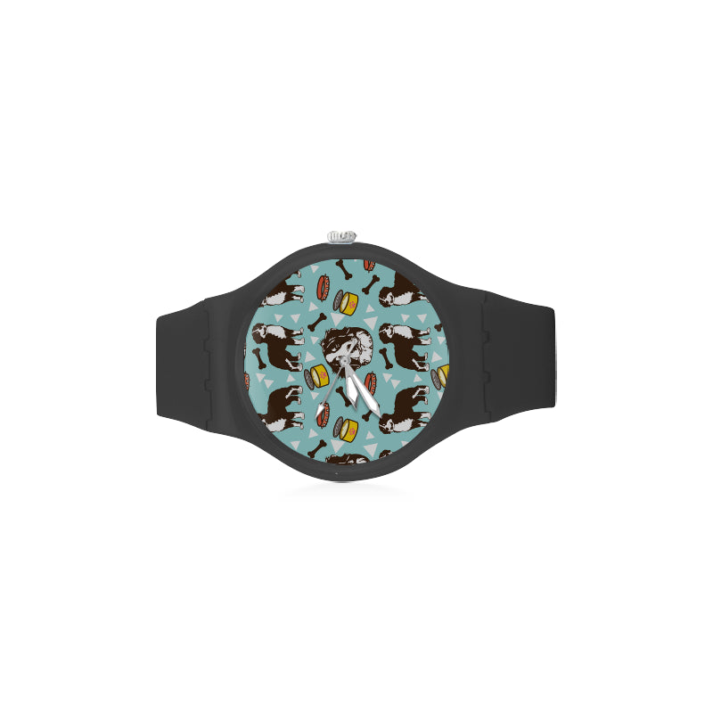 Bernese Mountain Pattern Black Unisex Round Rubber Sport Watch - TeeAmazing