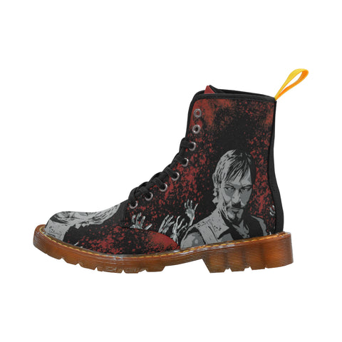 Daryl and Zombie's Hands Black Martin Boots For Men - TeeAmazing