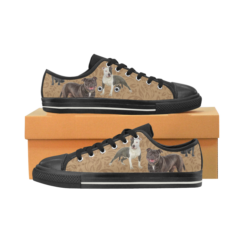 Staffordshire Bull Terrier Lover Black Canvas Women's Shoes/Large Size - TeeAmazing