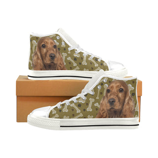 Cocker Spaniel Dog White Men's Classic High Top Canvas Shoes - TeeAmazing