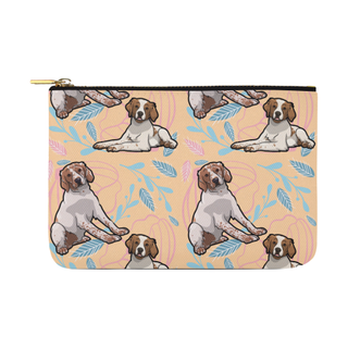 Brittany Spaniel Flower Carry-All Pouch 12.5''x8.5'' - TeeAmazing