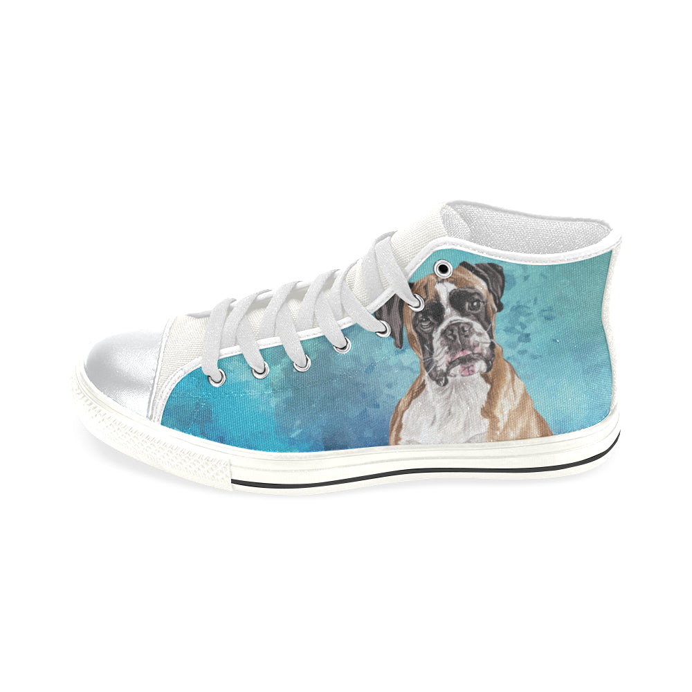 Boxer Water Colour White High Top Canvas Shoes for Kid - TeeAmazing