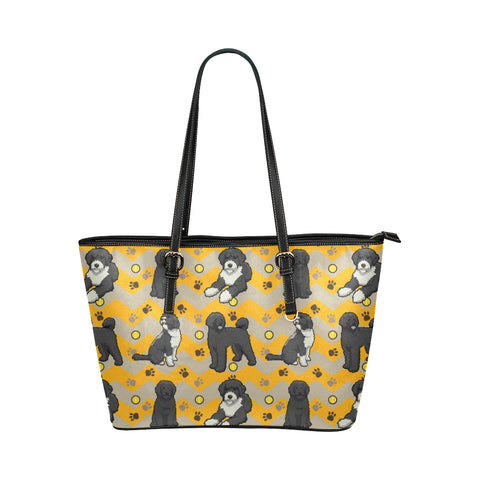 Portuguese water dog Leather Tote Bag/Small (Model 1651) - TeeAmazing