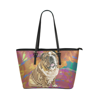 English Bulldog Water Colour No.2 Leather Tote Bag/Small - TeeAmazing