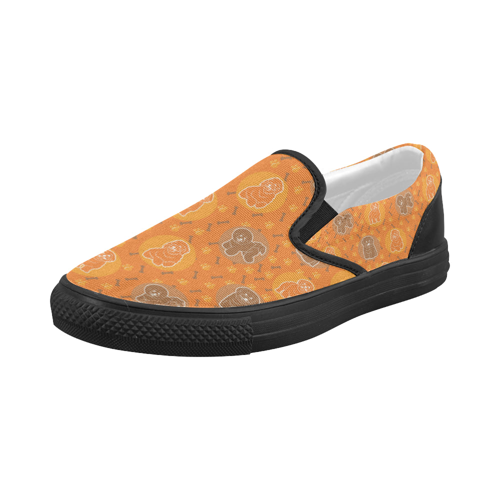 Bichon Frise Pattern Black Women's Slip-on Canvas Shoes - TeeAmazing
