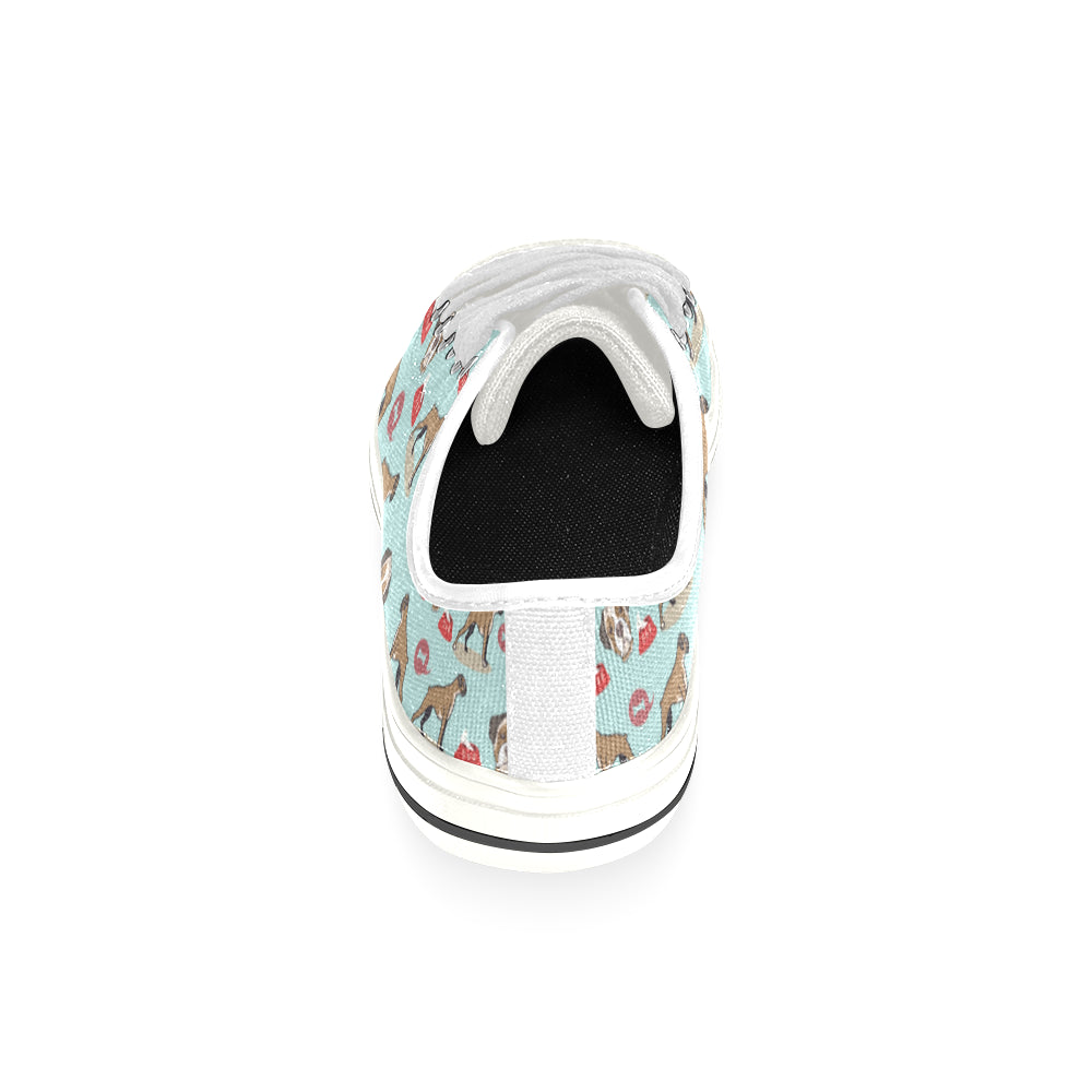 Boxer Pattern White Low Top Canvas Shoes for Kid - TeeAmazing