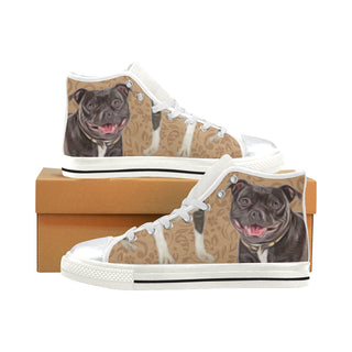Staffordshire Bull Terrier Lover White High Top Canvas Shoes for Kid - TeeAmazing